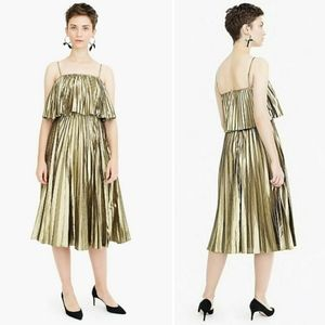 J.Crew Collection Pleated Midi Dress In Gold Lamé